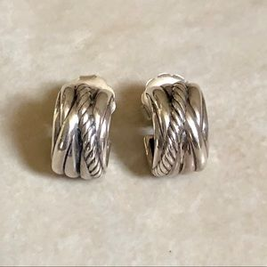 David Yurman Earrings Sterling Crossover Hoops